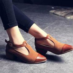 2016 Vintage zapatos Oxford mujeres punta estrecha Cut Out de tacón Med Patchwork hebilla para mujer de los zapatos planos WFS112