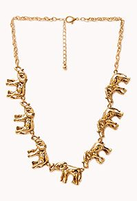 Elephant Frenzy Charm Necklace by: Elephant Jewelry, Elephant Necklace, Cross Pendant, Jewelery, Women Accessories, Fashion Jewelry, Chain, Forever 21, Elephants