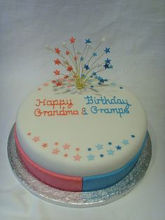 Joint Birthday Cake Great Idea Maybe Aqua White Red On