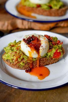 Avocado Toasts with Poached Eggs & Chorizo Crumb
