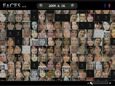(Processing - 2008) Visualization of daily news with faces of celebrities, who got a real buzz on Japanese mass media on a particular day of the year.   www.sonasphere.com/faces/