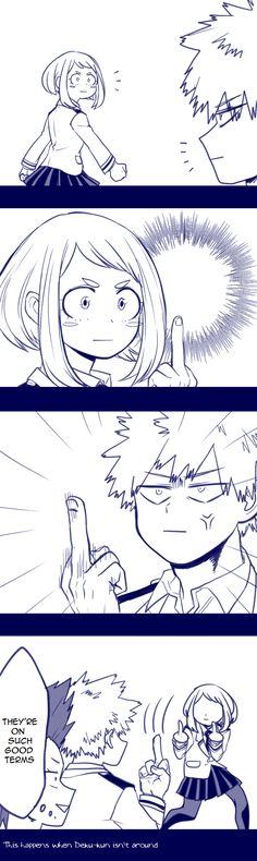 Boku no Hero Academia || Ochako Uraraka, Katsuki Bakugou. this is how i feel at work