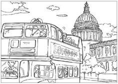 Coloring festival: Coloring pages london Printable Adult Coloring Pages, Coloring Pages For Girls, Free Coloring Pages, Coloring Books, Spring In New York, Doodle Coloring, London Skyline, Thinking Day, London Art