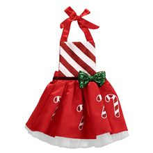 2016 Christmas Gift Infant Baby Girl Bow Candy Cane Print Dress Christmas Outfits Sunsuit Costume 0-24M(China (Mainland))