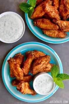 Crispy Baked Moroccan Chicken Wings with Yogurt Dip | recipe via http://justataste.com