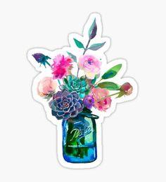 Pegatina Flores de tarro de albañil de acuarela