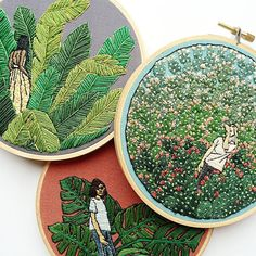 Fiber artist Sarah K. Benning is self-taught in the craft of embroidery but brings her background in fine art to every artwork she creates.
