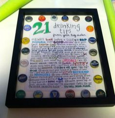 21 drinking tips-- gift for my sisters 21st birthday #handlettering #DIY