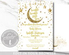 Twinkle Twinlke Little Star Baby Invitation, Girl Or Boy, Gender Neutral EDITABLE, Gold Glitter, Stars, Twinkle Printable Template, BABY1006 Online Printing, Glitter Stars, Gold Glitter, Etsy Cards, Mac Laptop, Baby Invitations, Photo Center