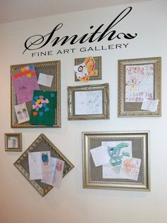 love the idea of frames with cork board and then covered in fabric to display children's art.  lettering available   @Lacy Bella.com