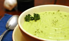 Soup from avocado and cucumber