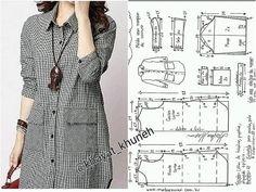 Tunic Sewing Patterns, Blouse Patterns, Clothing Patterns, Blouse Designs, Shirt Patterns For Women, Dress Shirts For Women, Kids Dress Wear, Diy Dress, Velvet Dress Designs
