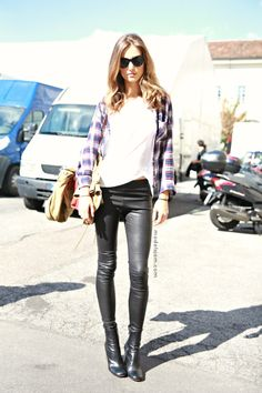 Leather and plaid.
