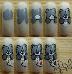 How to paint a teddy bear on nails, tutorial