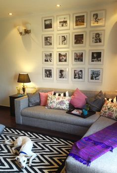 love the grey sofa and pillows  MadeByGirl: MY HOME, MY SPACE