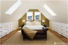 7 Incredible Useful Ideas: Clever Attic Storage attic apartment entrance.Old Attic Master Suite. Attic Master Bedroom, Attic Bedroom Designs, Attic Bedrooms, Upstairs Bedroom, Attic Design, Bedroom Loft, Attic Bathroom, A Frame Bedroom, Kids Bedroom