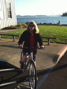Honeymoon cycling around Tiburon on complimentary bikes from the Waters Edge Hotel.