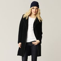 Leather Trim Knitted Coat   The White Company
