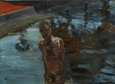 Euan MacLeod (New Zealand, b. 1956), Canal Study 2 (Torso), 1991. Oil on paper on canvas, 56.5 x 77.5 cm.