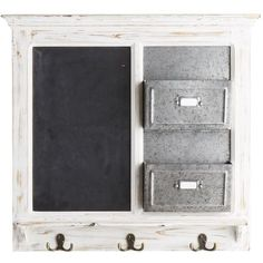 There's nothing we love more than stylish decor that also works hard. Our antiqued wall organizer, for instance. The whitewashed fir base is finished with a chalkboard, two baskets and three wrought iron hooks. Perfect for hanging coats, storing knickknacks and leaving a message for your loved ones before you head out the door.