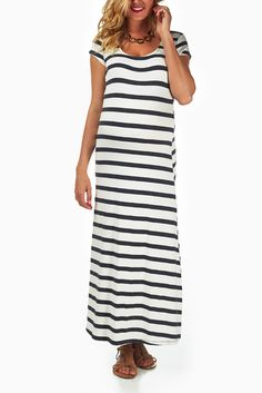 White-Grey-Striped-Maternity-Maxi-Dress #maternity #fashion