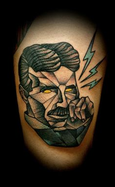 Awesome Tesla Tattoo by Gian Mauro Spanu https://www.facebook.com/GianMauroSpanu - #tattoo #graphic #tesla