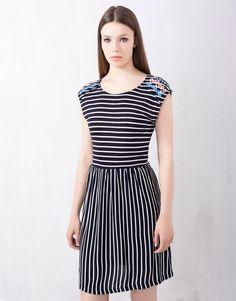 :STRIPE PRINT DRESS