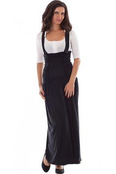 4e565fa989e Black Pinafore Dress. Plus Size Maxi Pinafore