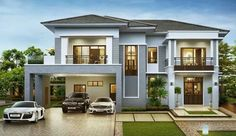 219 Stunning Contemporary Residences Exterior Design Ideas - Another! Beautiful House Plans, Dream House Plans, Contemporary House Plans, Modern House Plans, Contemporary Design, Bungalow House Design, Modern House Design, Two Story House Design, Mediterranean House Plans
