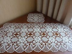 Items similar to table runner,set of doilies,table cover on Etsy Crochet Books, Crochet Home, Crochet Gifts, Beau Crochet, Crochet Motif, Crochet Patterns, Blue Tablecloth, Crochet Tablecloth, Lace Doilies
