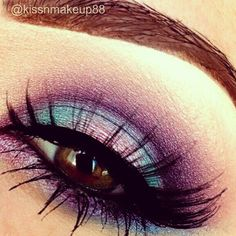 Pretty purple, teal and pink eyeshadow. ♡