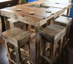 mesa alta de palets de madera