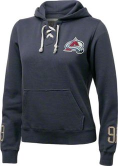 Colorado Avalanche Women's Queensboro Lace Hooded Sweatshirt ( white caps and #12 )
