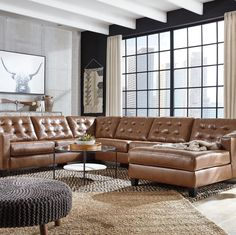 Ashley Furniture Baskove Sectional with Chaise with Includes 4 pieces: left-arm facing corner chaise, armless loveseat, right-arm facing loveseat and wedge Modern Sectional, Leather Sectional, Sectional Sofas, Recliners, Couches, Reclining Sectional, At Home Store, Signature Design, Leather Interior