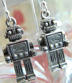 Sterling Silver Earwire Steampunk Robot Earrings Silver Plated Robot Popular Jewelry Retro Style Geekery Fashion Accessories Tiny Miniature Size