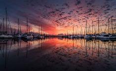 Landscape, Yacht, Sunrise, Clouds