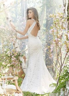 Bridal Gowns, Wedding Dresses by Jim Hjelm. This dress is so elegant and modern… Bridal Gowns, Wedding Dresses by Jim Hjelm. The back is as gorgeous as the front! Jim Hjelm Wedding Dresses, Lace Wedding Dress, Backless Wedding, Wedding Gowns, Lace Dress, Backless Gown, White Dress, Bridal Dresses, Bridesmaid Dresses