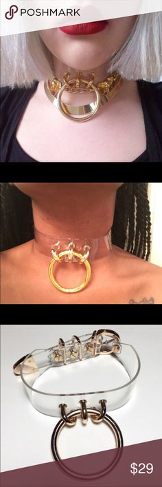 Large Gold Ring Choker Necklace Brand New Large Gold Plated Ring Choker. very nice!! Definitely a favorite , great quality as well. No Trades. Brand isn't Asos, no brand ASOS Jewelry Necklaces