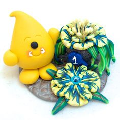 Parker with First Prize Flowers - Polymer Clay Character StoryBook Scene by KatersAcres | Ready for Adoption on Etsy