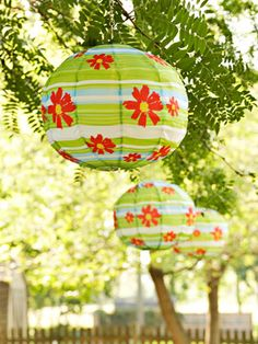 Beautiful green floral paper lanterns. Perfect for an outdoor garden party, high tea or hens party!