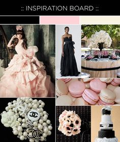 blush, cream, + black wedding.