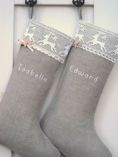 """Personalized Burlap Christmas stockings... and um, did anyone else realize that Edward and Bella are the names? Don't know if it just happened to be that way, or if the parents named them in """"honor"""" of them!! :)"""
