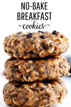 These No-Bake Breakfast Cookies are easy to make, healthy, packed with protein and simply delicious. They can be whipped up in less than 5 minutes and stored for up to two weeks. snacks healthy EASY No-Bake Breakfast Cookies mins prep!) - I Heart Naptime Good Healthy Recipes, Healthy Breakfast Recipes, Easy Breakfast Ideas, Healthy Breakfast Cookies, Healthy Baking, Healthy Peanut Butter Cookies, Oatmeal Breakfast Cookies, Banana Oatmeal Cookies, Healthy Oatmeal Cookies