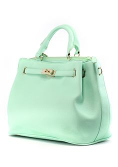 Mint Front Lock Shoulder Bag by Chic+ - Best Sellers - Retro, Indie and Unique Fashion