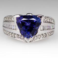 4.7 Carat Trillion Cut Tanzanite Ring 14K White Gold $4,299.00