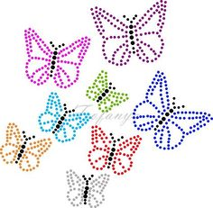 vlinders   Vlinder/Butterflies   glittermotifs Tulip Painting, Dot Art Painting, Butterfly Template, Butterfly Art, Types Of Embroidery, Embroidery Patterns, Sequin Crafts, String Art Templates, Rhinestone Art