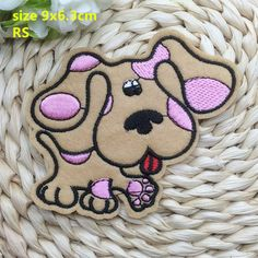 New arrival 10 pcs khaki dog embroidered patch iron on Motif Applique RS Fabric…