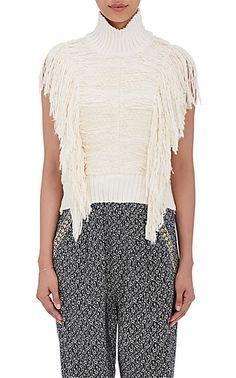 Sea Brocade Sleeveless Sweater - Sweaters - 504603600