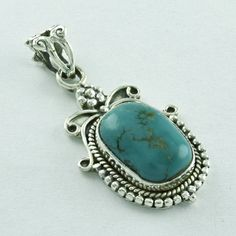 GREEN TURQUOISE STONE ROYAL BEAUTY 925 SOLID STERLING SILVER  PENDANT #SilvexImagesIndiaPvtLtd #Pendant