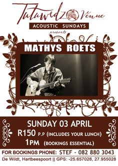 Only per person, lunch INCLUDED! Limited seats available. Call Marianne on 060 330 9645 or Stef on 082 880 3043 to book your table.